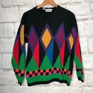 Rafaella vintage knit sweater color block large